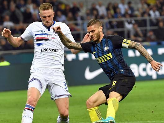 Milan Skriniar, qui contro Mauro Icardi. Ansa