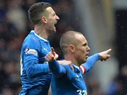 L'esultanza dei giocatori dei Rangers Glasgow. Getty Images