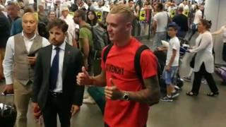 Rick Karsdorp, 22 anni, difensore olandese del Feyenoord, all'arrivo a Fiumicino. Zucchelli