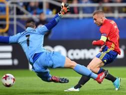 La rete di Deulofeu contro la Macedonia all'Europeo Under 21. Epa