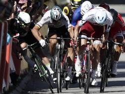 Il gomito largo di Sagan che secondo la giuria ha provocato la caudta di Cavendish. Epa