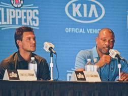 Danilo Gallinari e Doc Rivers in conferenza stampa. Twitter