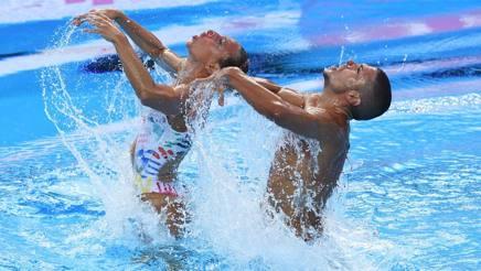 Manila Flamini e Giorgio Minisini durante la prova mondiale. Getty