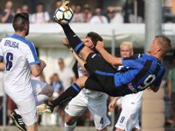 Andreas Cornelius, 24 anni, centravanti danese, nuovo acquisto dell'Atalanta: oggi ha segnato 3 gol. LaPresse