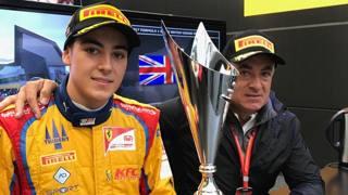 Giugliano Alesi con il papà, l'ex ferrarista Jean. twitter Pirelli