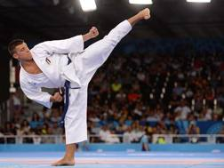 Il karateka Mattia Busato, in gara nel karate ai World Game di Cracovia, in Polonia