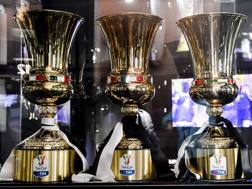 Le tre coppe Italia esposte allo Juventus Stadium: i bianconeri hanno vinto le ultime tre edizioni. LaPresse