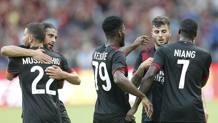 L'esultanza dei giocatori del Milan per il gol del 3-0. LaPresse