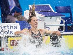 Federica Pellegrini, 28 anni, dopo la vittoria nei 200 sl LAPRESSE