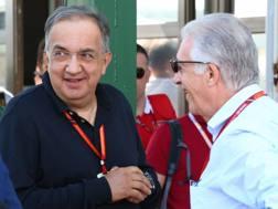 Sergio Marchionne con Piero Ferrari in Ungheria. LaPresse