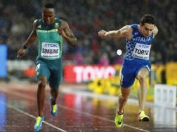 L'arrivo di Filippo Tortu nella semifinale dei 200. Reuters