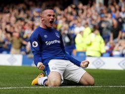 Wayne Rooney, 31 anni, subito in gol e decisivo con l'Everton. Action