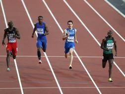 Filippo Tortu, 19 anni, durante una prova ai Mondiali dove è arrivato in semifinale nei 200 metri AFP