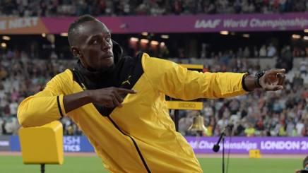 Usain Bolt, 30 anni, durante l'ultimo saluto al pubblico di Londra REUTERS