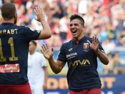 Simeone esulta dopo il gol al Cesena in coppa Italia. LaPresse
