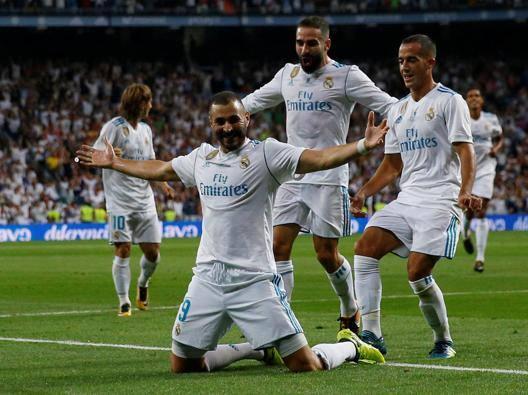 Benzema festeggia il 2-0. Reuters