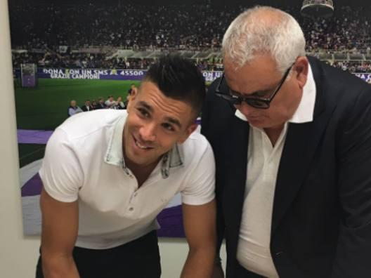 Giovanni Simeone e il d.s.viola Pantaleo Corvino. Twitter