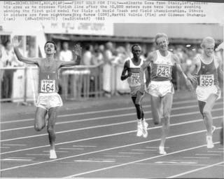 Il successo di Alberto Cova sui 10.000 ai Mondiali '83 AP