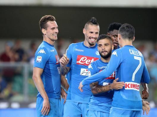 La gioia dei giocatori del Napoli.  LaPresse