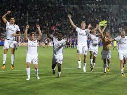 Festa Milan a fine partita. Getty Images