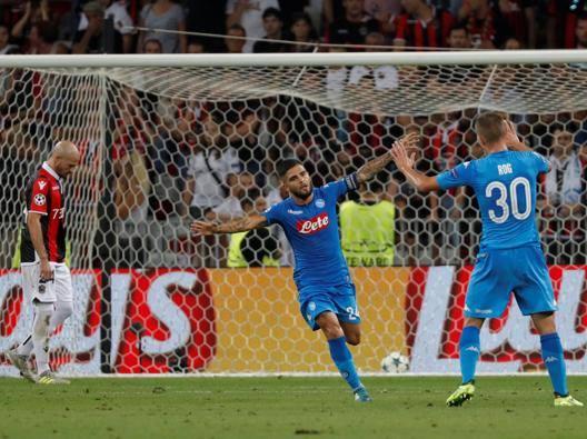 Insigne  esulta dopo il gol. Reuters