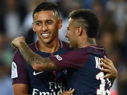 Marquinhos, difensore Psg, e Neymar attaccante Psg. AFP