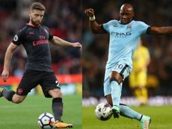 Mustafi con la maglia dell'Arsenal vs Mangala del Manchester City