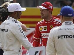 Vettel si complimenta con Hamilton per la pole. Ap
