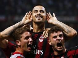 Suso esulta dopo il gol del 2-1 in Milan-Cagliari. Afp