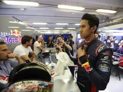 Sean Gelael ai box della Toro Rosso