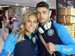 Odette Giuffrida e Fabio Basile in partenza per Budapest dall'aeroporto di Fiumicino ANSA