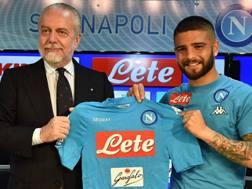 De Laurentiis e Insigne nella conferenza stampa per il rinnovo del contratto dell'esterno. Lapresse