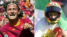 Francesco Totti festeggia il gol scudetto, Valentino Rossi esulta per il suo terzo mondiale