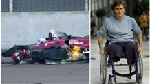 A sinistra la Honda di Zanardi tranciata a metà dopo l'impatto con Alex Tagliani. A destra il pilota emiliano a un mese dal terribile incidente.