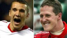 Le esultanze di Andriy Shevchenko e Michael Schumacher