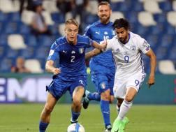 Andrea Conti, 23 anni, difensore del Milan e della Nazionale, durante il match contro Israele. ANSA