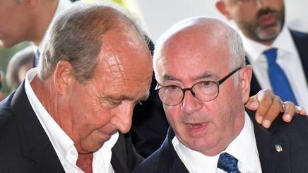 Gian Piero Ventura e Carlo Tavecchio, rispettivamente ct dell'Italia e presidente della Figc. Ansa