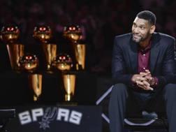 Tim Duncan, 41 anni, ha vinto 5 anelli Nba con gli Spurs. Ap
