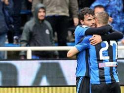L'esultanza di Petagna per il gol vittoria. Lapresse
