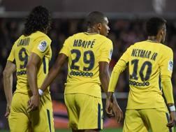 Cavani, Mbappé, Neymar, il trio del Psg esordisce questa sera contro il Celtic. Afp
