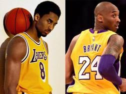 Kobe Bryant con l'8 e col 24