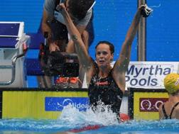 Federica Pellegrini festeggia l'oro nei 200 sl ai Mondiali di Budapest 2017. Lapresse
