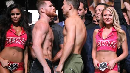 Canelo Alvarez e Gennady Golovkin si sfidano al peso. Afp