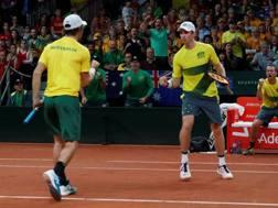 John Peers e Jordan Thompson esultano: Australia sul 2-1. Reuters