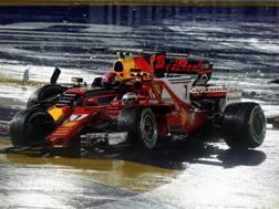 La Ferrari di Raikkonen ko con la Red Bull di Verstappen. Reuters