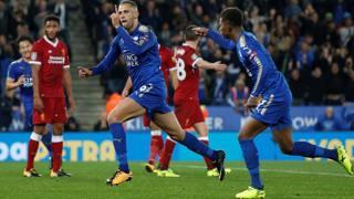 Islam Slimani festeggia il 2-0 contro il Liverpool. Action