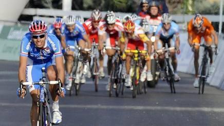Alessandro Ballan si avvia a vincere il Mondiale 2008. Ansa