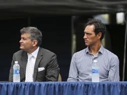 Alessandro Nesta durante una conferenza stampa del Miami Fc. Lapresse