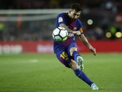 Lionel Messi, ha segnato 4 gol contro l'Eibar ieri sera. AP