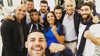 Gli campioni azzurri della Fijlkam con Malagò e Carlton Myers